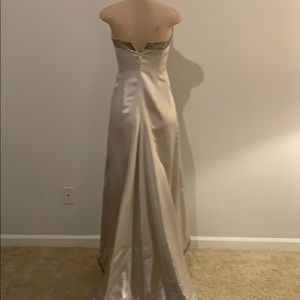 Peter Langner Dresses - Silver Satin Italian Wedding Dress with crown